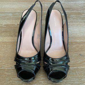 Calvin Klein Patent Leather Peep Toe Sling   9M